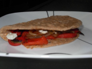 Roasted red pepper & goat cheese quesadilla
