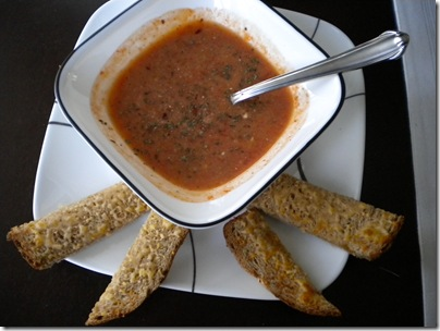 tomato soup and cheese bread