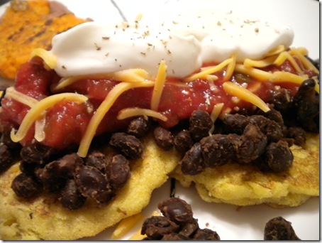corn cakes and black beans