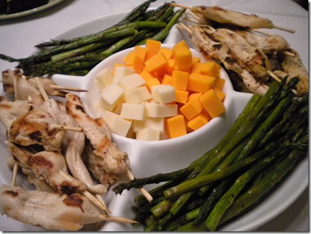 chicken, veggie, cheese platter